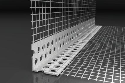 Barra paraspigolo forata in pvc con rete per angoli interni e per